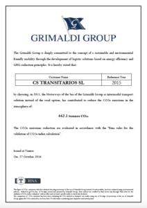 Certificado reduccion de emisiones co2 con Short Sea Shipping